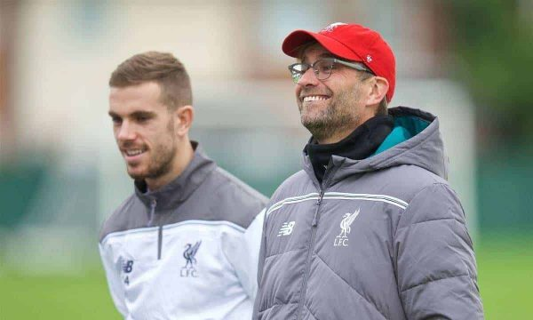 LIVERPOOL, ENGLAND - Wednesday, December 9, 2015: Liverpool's captain Jordan Henderson and manager Jürgen Klopp during a training session at Melwood Training Ground ahead of the UEFA Europa League Group Stage Group B match against FC Sion. (Pic by David Rawcliffe/Propaganda)