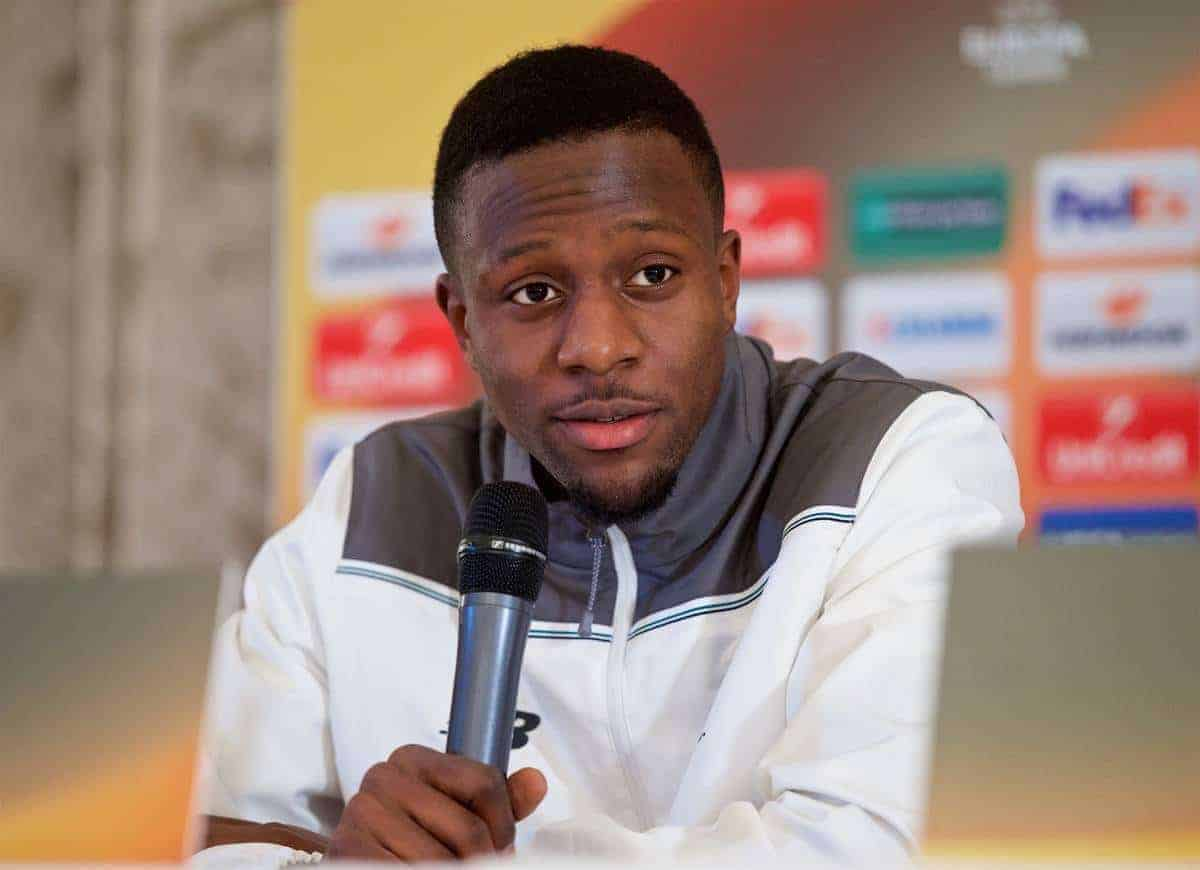 LIVERPOOL, ENGLAND - Wednesday, December 9, 2015: Liverpool's Divock Origi during a press conference at the Fairmont Le Montreux Palace ahead of the UEFA Europa League Group Stage Group B match against FC Sion. (Pic by David Rawcliffe/Propaganda)
