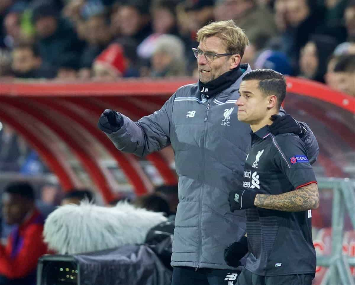 LIVERPOOL, ENGLAND - Thursday, December 10, 2015: Liverpool's manager Jürgen Klopp prepares to bring on substitute Philippe Coutinho Correia against FC Sion during the UEFA Europa League Group Stage Group B match at Stade de Tourbillon. (Pic by David Rawcliffe/Propaganda)