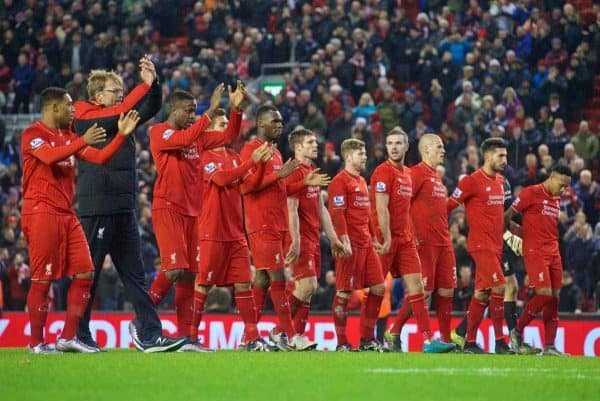 LIVERPOOL, ENGLAND - Sunday, December 13, 2015: Liverpool's manager J¸rgen Klopp and the players salute the supporters after the 2-2 draw against West Bromwich Albion in the Premier League at Anfield. (Pic by James Maloney/Propaganda)
