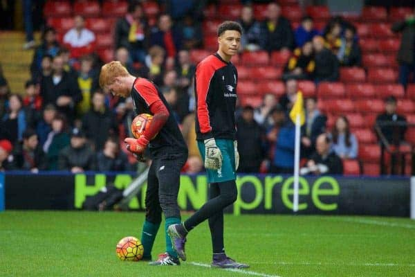 WATFORD, ENGLAND - Sunday, December 20, 2015: Liverpool's goalkeepers Adam Bogdan and Shamal George warm-up before the Premier League match against Watford at Vicarage Road. (Pic by David Rawcliffe/Propaganda)