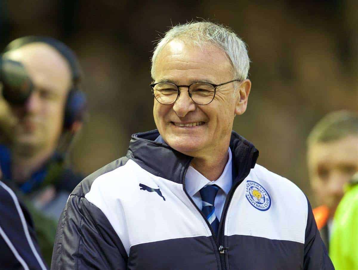 LIVERPOOL, ENGLAND - Boxing Day, Saturday, December 26, 2015: Leicester City's manager Claudio Ranieri before the Premier League match against Liverpool at Anfield. (Pic by David Rawcliffe/Propaganda)