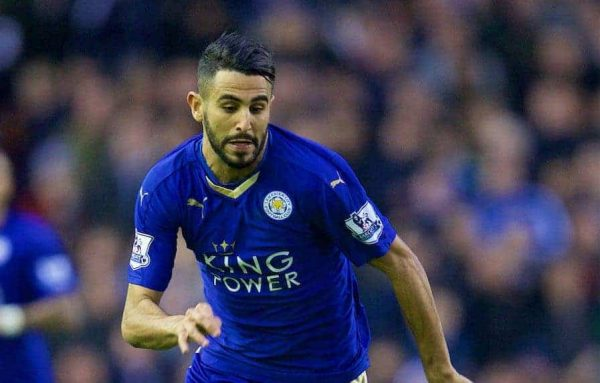 LIVERPOOL, ENGLAND - Boxing Day, Saturday, December 26, 2015: Leicester City's Riyad Mahrez in action against Liverpool during the Premier League match at Anfield. (Pic by David Rawcliffe/Propaganda)