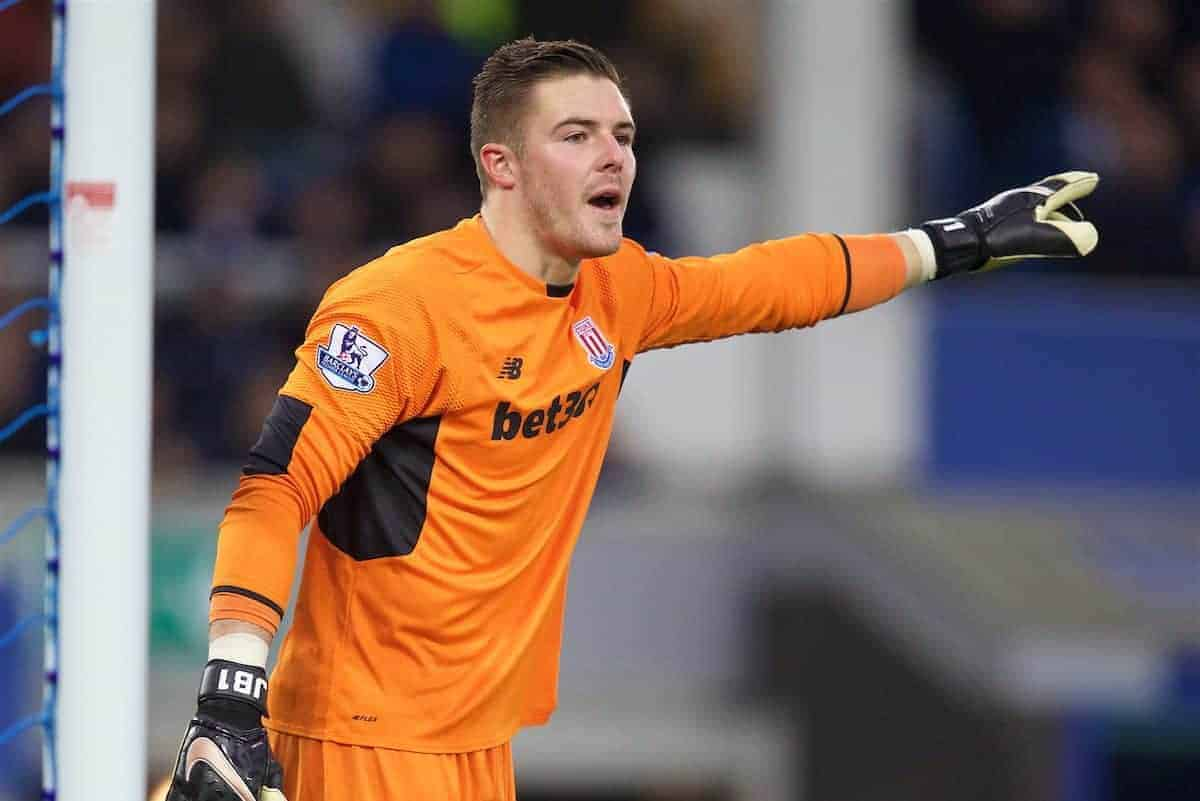 LIVERPOOL, ENGLAND - Monday, December 28, 2015: Stoke City's goalkeeper Jack Butland in action against Everton during the Premier League match at Goodison Park. (Pic by David Rawcliffe/Propaganda)
