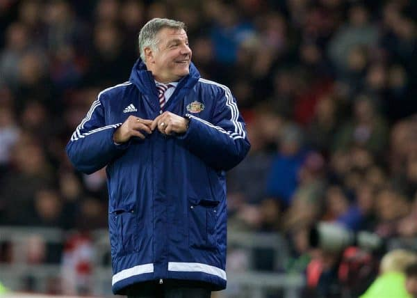 SUNDERLAND, ENGLAND - Wednesday, December 30, 2015: Sunderland's manager Sam Allardyce laughs as Liverpool fans sing 'Fat Sam, he's got a big Fat Head' during the Premier League match at the Stadium of Light. (Pic by David Rawcliffe/Propaganda)