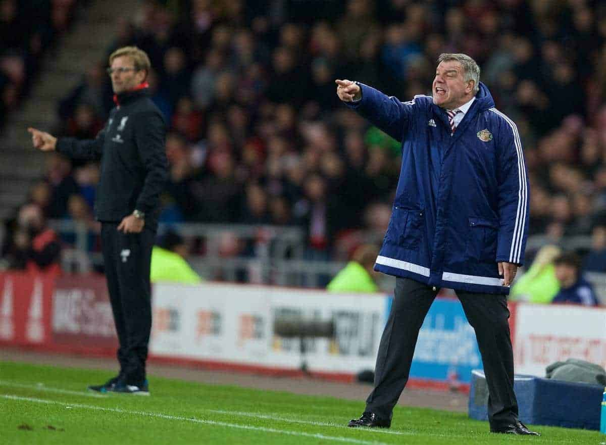 SUNDERLAND, ENGLAND - Wednesday, December 30, 2015: Sunderland's manager Sam Allardyce during the Premier League match against Liverpool at the Stadium of Light. (Pic by David Rawcliffe/Propaganda)