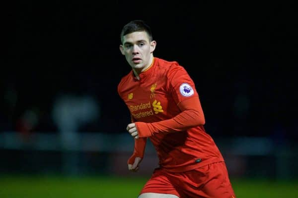 BANGOR, WALES - Wednesday, January 4, 2017: Liverpool's Jack Dunn in action against Bangor City during an Under-23 friendly match at Bangor University Stadium. (Pic by David Rawcliffe/Propaganda)