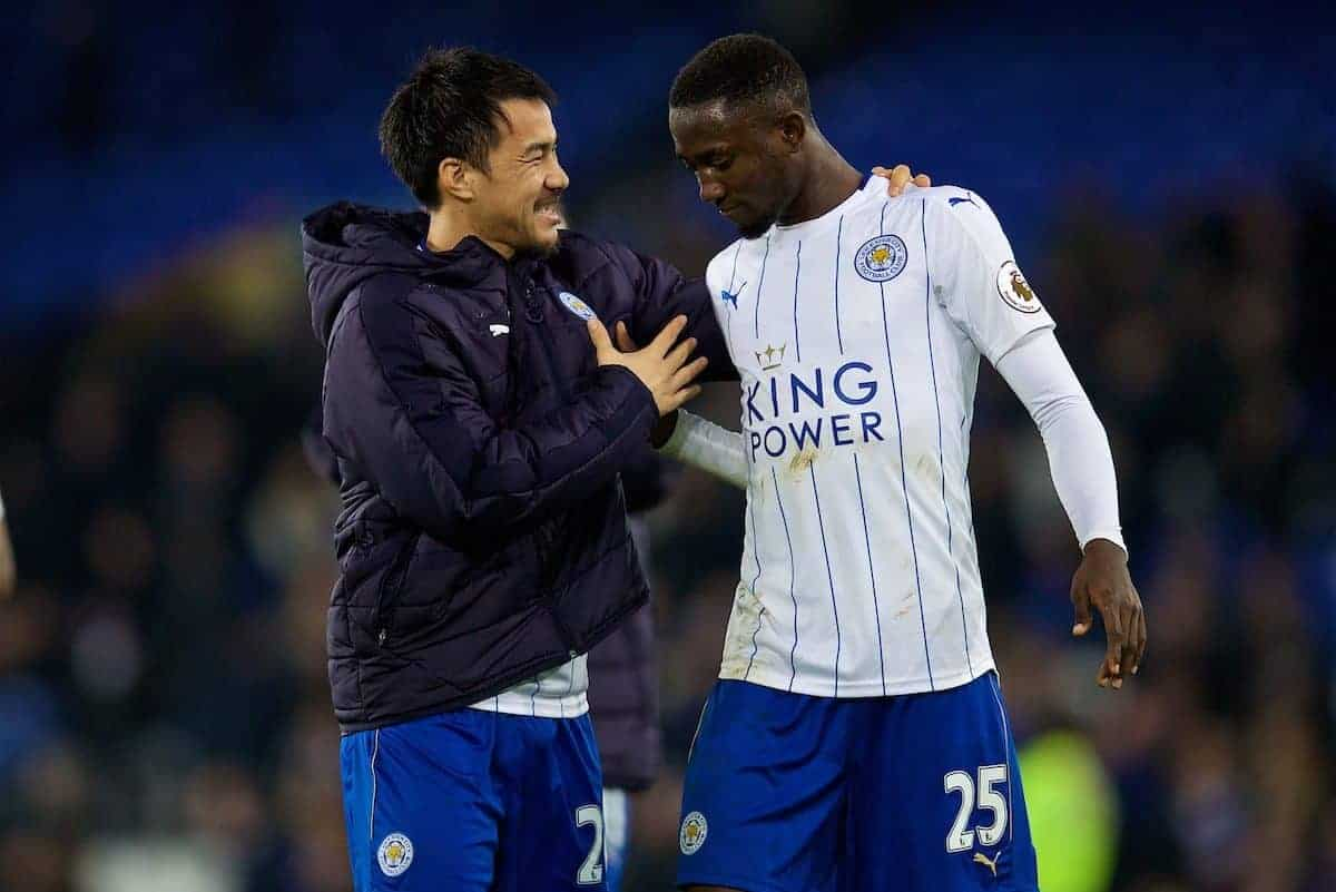 LIVERPOOL, ENGLAND - Saturday, January 7, 2017: Leicester City's Nampalys Mendy celebrates with unused substitute Shinji Okazaki after the 2-1 victory over Everton the FA Cup 3rd Round match at Goodison Park. (Pic by David Rawcliffe/Propaganda)
