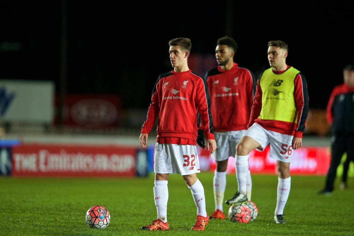 EXETER, ENGLAND - Friday, January 8, 2016: Liverpool's Cameron Brannagan warms-up before the FA Cup 3rd Round match against Exeter City at St. James Park. (Pic by David Rawcliffe/Propaganda)
