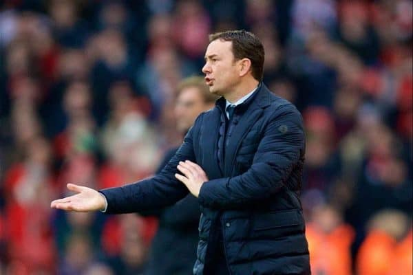 Plymouth Argyle's manager Derek Adams during the FA Cup 3rd Round match against Liverpool at Anfield. (Pic by David Rawcliffe/Propaganda)