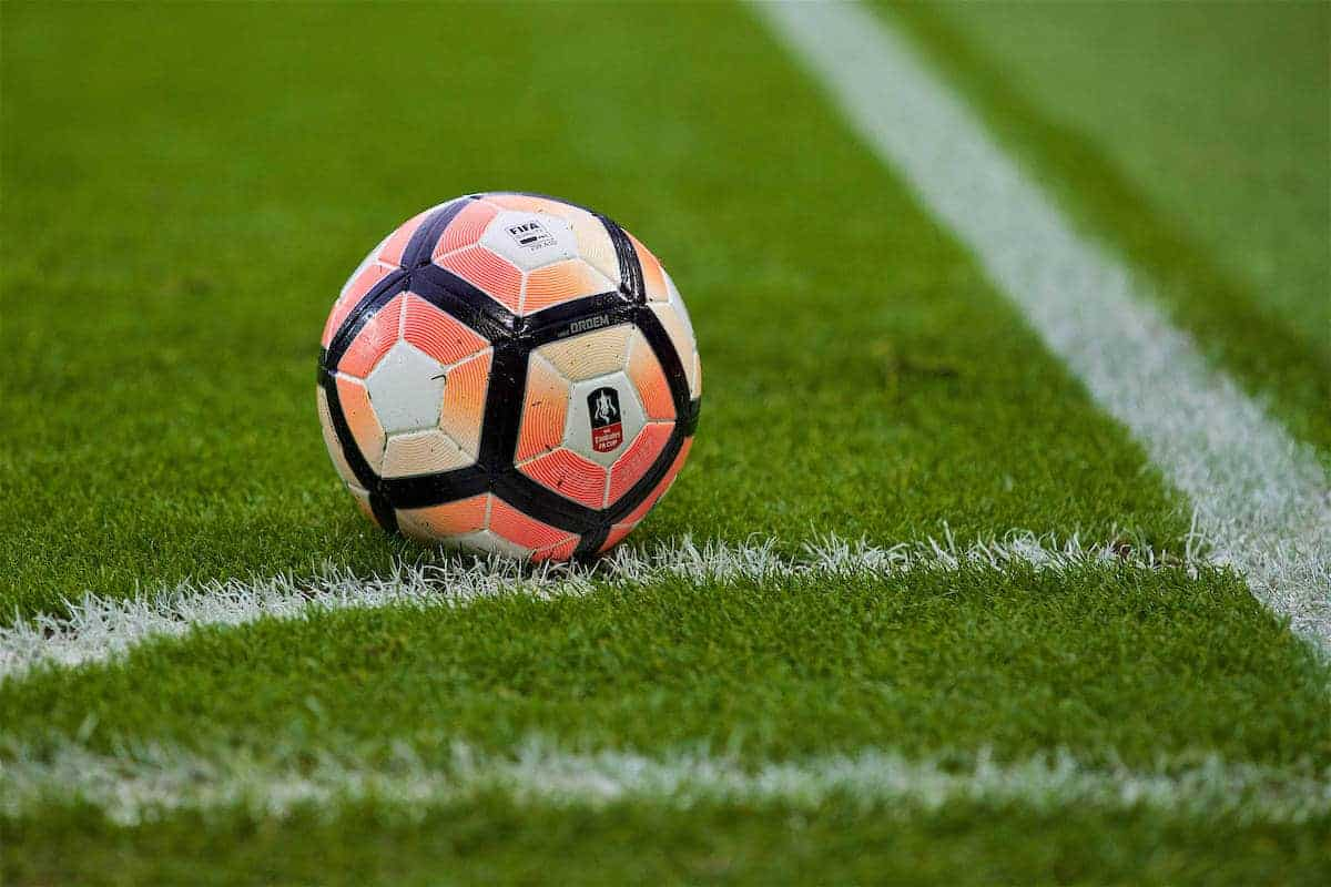 LIVERPOOL, ENGLAND - Saturday, January 7, 2017: The official FA Cup match-ball placed in the corner quadrant during the FA Cup 3rd Round match between Liverpool and Plymouth Argyle at Anfield. (Pic by David Rawcliffe/Propaganda)