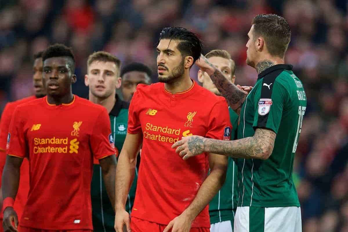 LIVERPOOL, ENGLAND - Saturday, January 7, 2017: Liverpool's Emre Can in action against Plymouth Argyle's Sonny Bradley during the FA Cup 3rd Round match at Anfield. (Pic by David Rawcliffe/Propaganda)