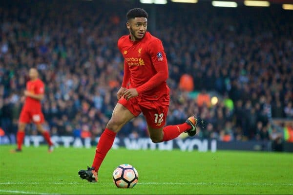 Liverpool's Joe Gomez in action against Plymouth Argyle during the FA Cup 3rd Round match at Anfield. (Pic by David Rawcliffe/Propaganda)