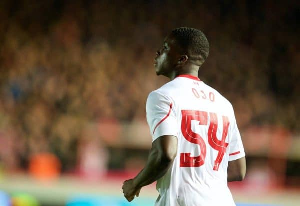 EXETER, ENGLAND - Friday, January 8, 2016: Liverpool's Sheyi Ojo in action against Exeter City during the FA Cup 3rd Round match at St. James Park. (Pic by David Rawcliffe/Propaganda)