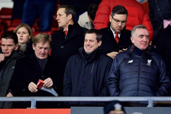 SOUTHAMPTON, ENGLAND - Wednesday, January 11, 2017: Liverpool's non-executive director Kenny Dalglish, Commercial Director Billy Hogan and Chief Executive Officer Ian Ayre before the Football League Cup Semi-Final 1st Leg match against Southampton at St. Mary's Stadium. (Pic by David Rawcliffe/Propaganda)