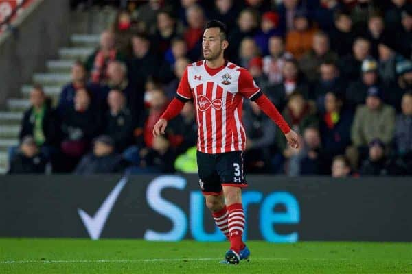 Southampton's Maya Yoshida in action against Liverpool during the Football League Cup Semi-Final 1st Leg match at St. Mary's Stadium. (Pic by David Rawcliffe/Propaganda)
