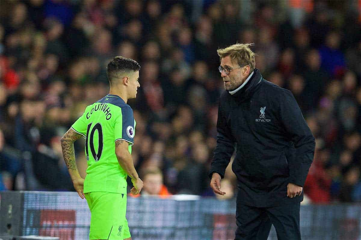 SOUTHAMPTON, ENGLAND - Wednesday, January 11, 2017: Liverpool's manager Jürgen Klopp prepares to bring on substitute Philippe Coutinho Correia against Southampton during the Football League Cup Semi-Final 1st Leg match at St. Mary's Stadium. (Pic by David Rawcliffe/Propaganda)