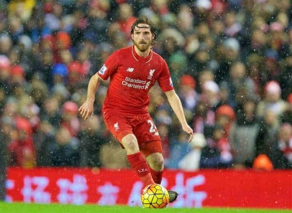 LIVERPOOL, ENGLAND - Wednesday, January 13, 2016: Liverpool's Joe Allen in action against Arsenal during the Premier League match at Anfield. (Pic by David Rawcliffe/Propaganda)