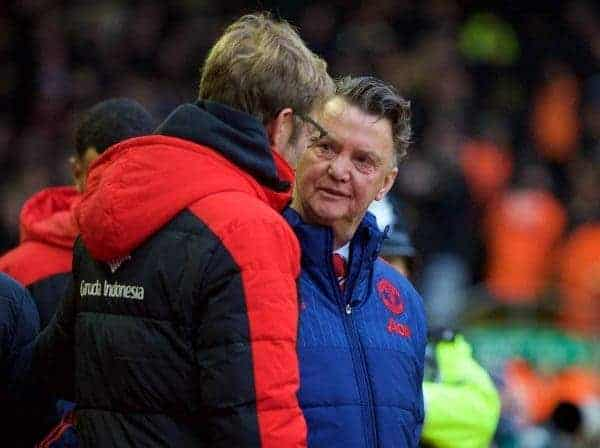 LIVERPOOL, ENGLAND - Sunday, January 17, 2016: Manchester United's manager Louis van Gaal and Liverpool's manager Jürgen Klopp before the Premier League match at Anfield. (Pic by David Rawcliffe/Propaganda)