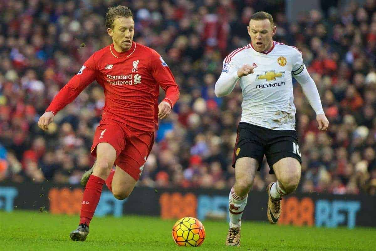 LIVERPOOL, ENGLAND - Sunday, January 17, 2016: Liverpool's Lucas Leiva and Manchester United's captain Wayne Rooney during the Premier League match at Anfield. (Pic by David Rawcliffe/Propaganda)