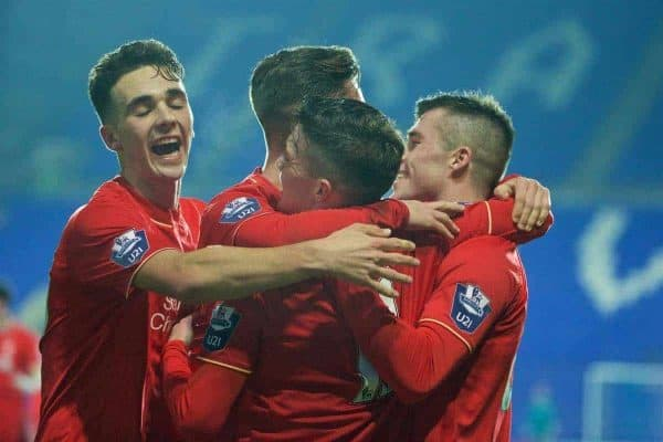 BIRKENHEAD, ENGLAND - Tuesday, January 19, 2016: Liverpool's Daniel Trickett-Smith celebrates scoring the first goal against Leeds United during the Under-21 Premier League Cup match at Prenton Park. (Pic by David Rawcliffe/Propaganda)