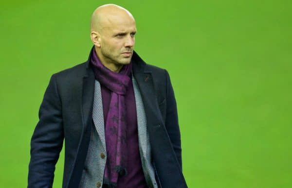 LIVERPOOL, ENGLAND - Wednesday, January 20, 2016: Exeter City's manager Paul Tisdale arrives before the FA Cup 3rd Round Replay match against Liverpool at Anfield. (Pic by David Rawcliffe/Propaganda)