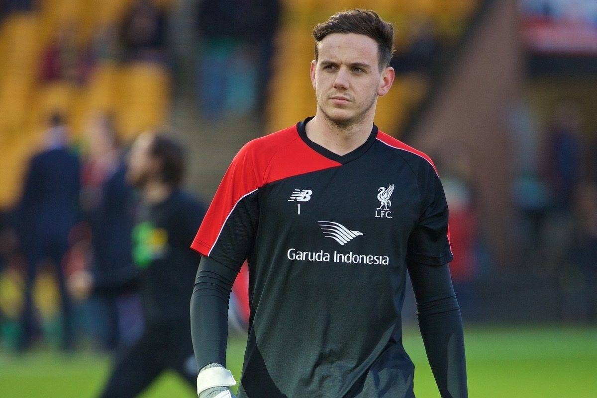 NORWICH, ENGLAND - Friday, January 22, 2016: Liverpool's goalkeeper Danny Ward warms up before the Premiership match against Norwich City at Carrow Road. (Pic by David Rawcliffe/Propaganda)