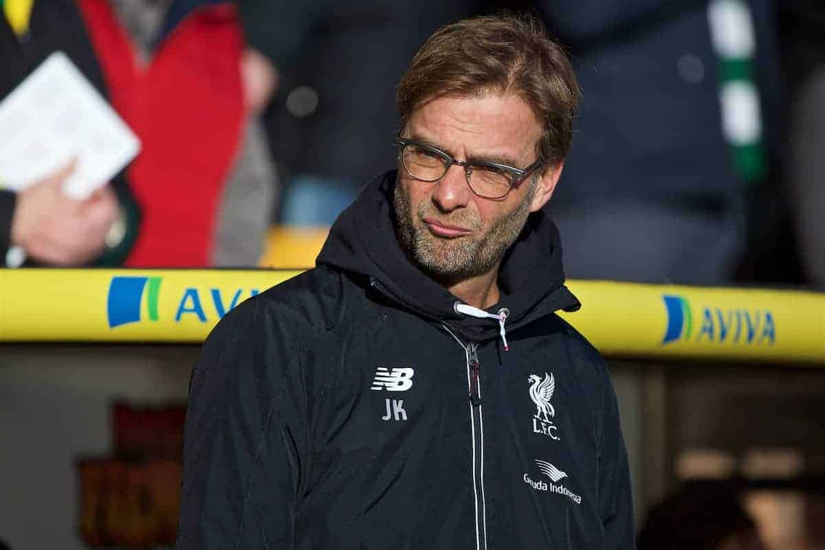 NORWICH, ENGLAND - Friday, January 22, 2016: Liverpool's manager Jürgen Klopp before the Premiership match against Norwich City at Carrow Road. (Pic by David Rawcliffe/Propaganda)