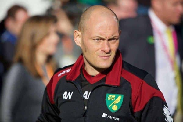 NORWICH, ENGLAND - Friday, January 22, 2016: Norwich City's manager Alex Neil before the Premiership match against Liverpool at Carrow Road. (Pic by David Rawcliffe/Propaganda)