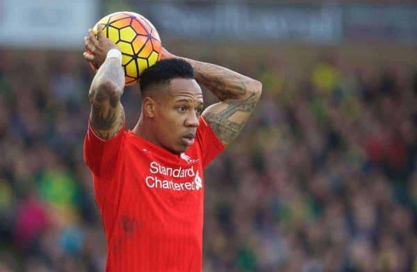 NORWICH, ENGLAND - Friday, January 22, 2016: Liverpool's Nathaniel Clyne takes a throw-in against Norwich City during the Premiership match at Carrow Road. (Pic by David Rawcliffe/Propaganda)
