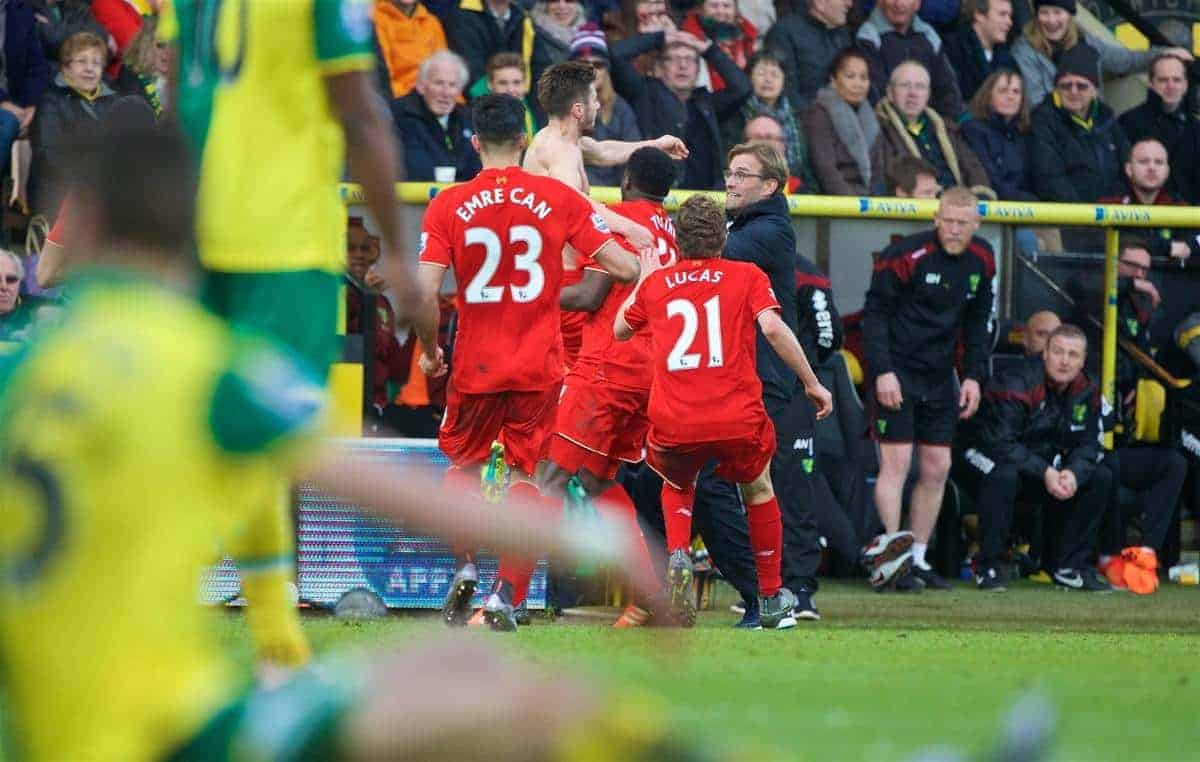 NORWICH, ENGLAND - Friday, January 22, 2016: Liverpool's Adam Lallana celebrates with manager Jürgen Klopp after scoring the fifth, and winning, goal against Norwich City to seal a late 5-4 victory during the Premiership match at Carrow Road. (Pic by David Rawcliffe/Propaganda)