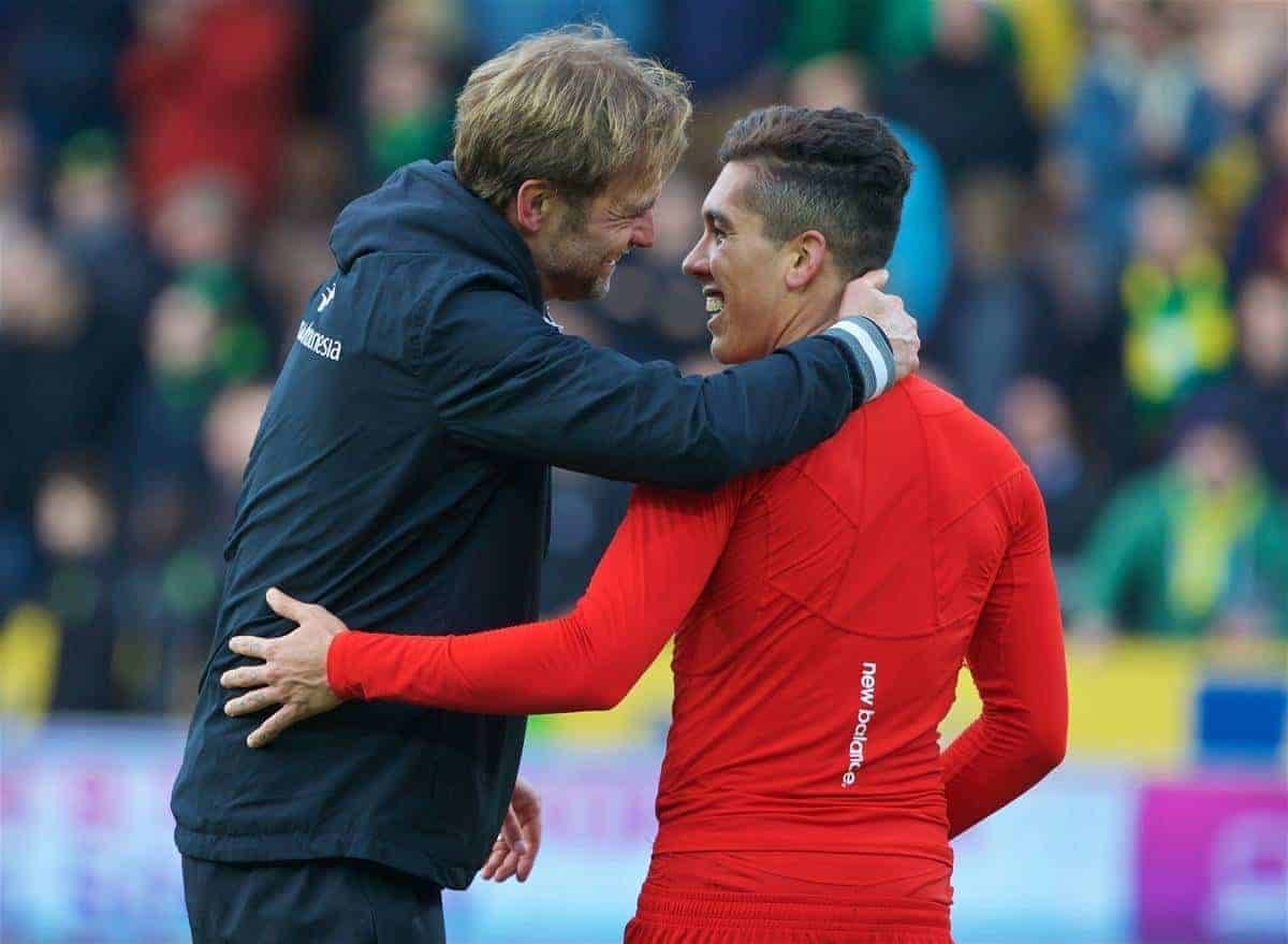 NORWICH, ENGLAND - Friday, January 22, 2016: Liverpool's manager Jürgen Klopp celebrates with Roberto Firmino after the dramatic 5-4 victory over Norwich City during the Premiership match at Carrow Road. (Pic by David Rawcliffe/Propaganda)