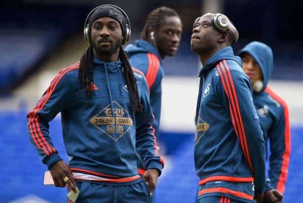 LIVERPOOL, ENGLAND - Sunday, January 24, 2016: Swansea City's Marvin Emnes and Andre Ayew before the Premier League match against Everton at Goodison Park. (Pic by David Rawcliffe/Propaganda)