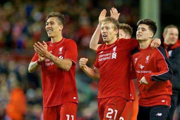 LIVERPOOL, ENGLAND - Monday, January 25, 2016: Liverpool's Roberto Firmino, Lucas Leiva and Joao Carlos Teixeira celebrate after a 6-5 penalty-shoot out win over Stoke City during the Football League Cup Semi-Final 2nd Leg match at Anfield. (Pic by David Rawcliffe/Propaganda)