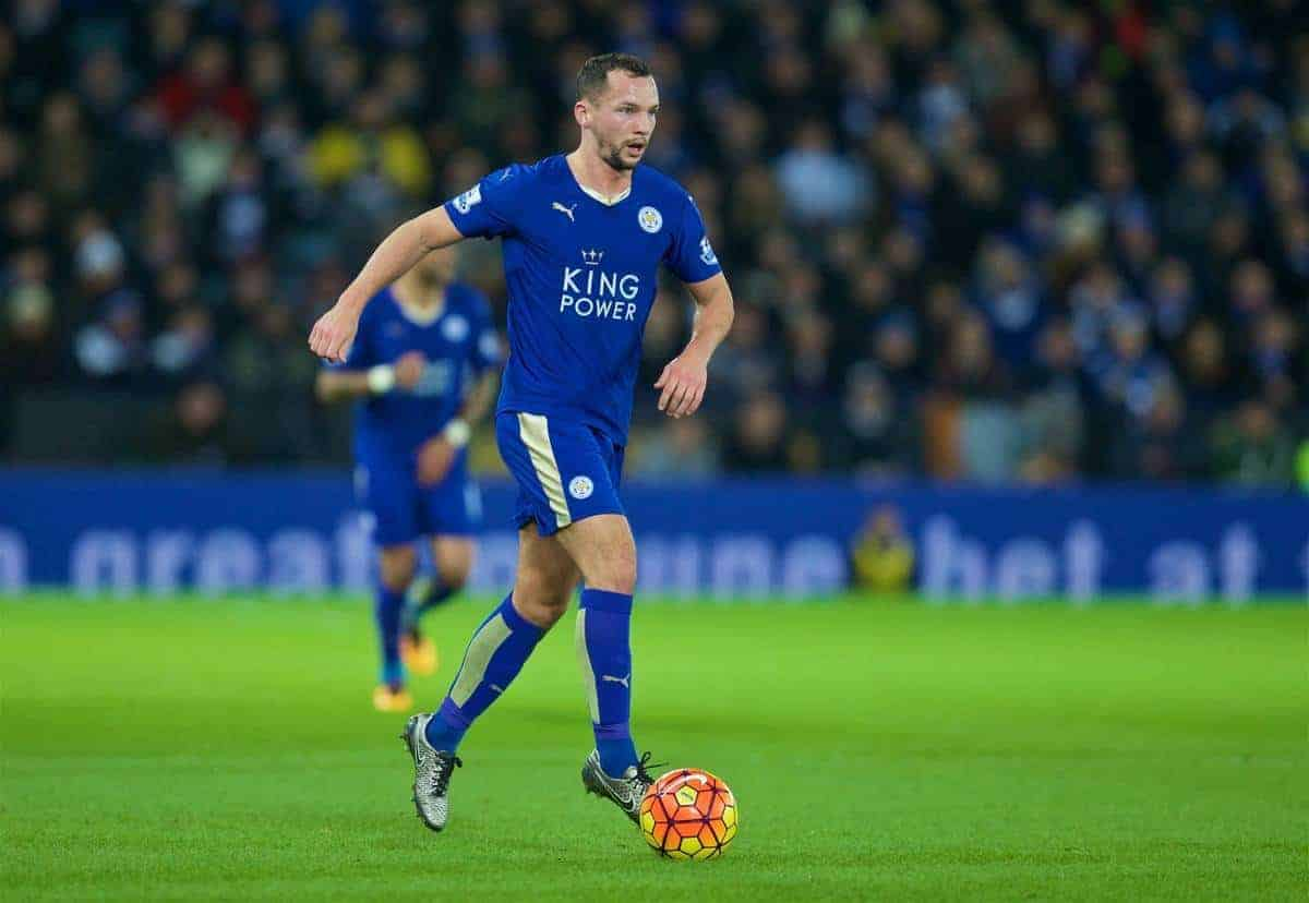 LEICESTER, ENGLAND - Monday, February 1, 2016: Leicester City's Danny Drinkwater in action against Liverpool during the Premier League match at Filbert Way. (Pic by David Rawcliffe/Propaganda)