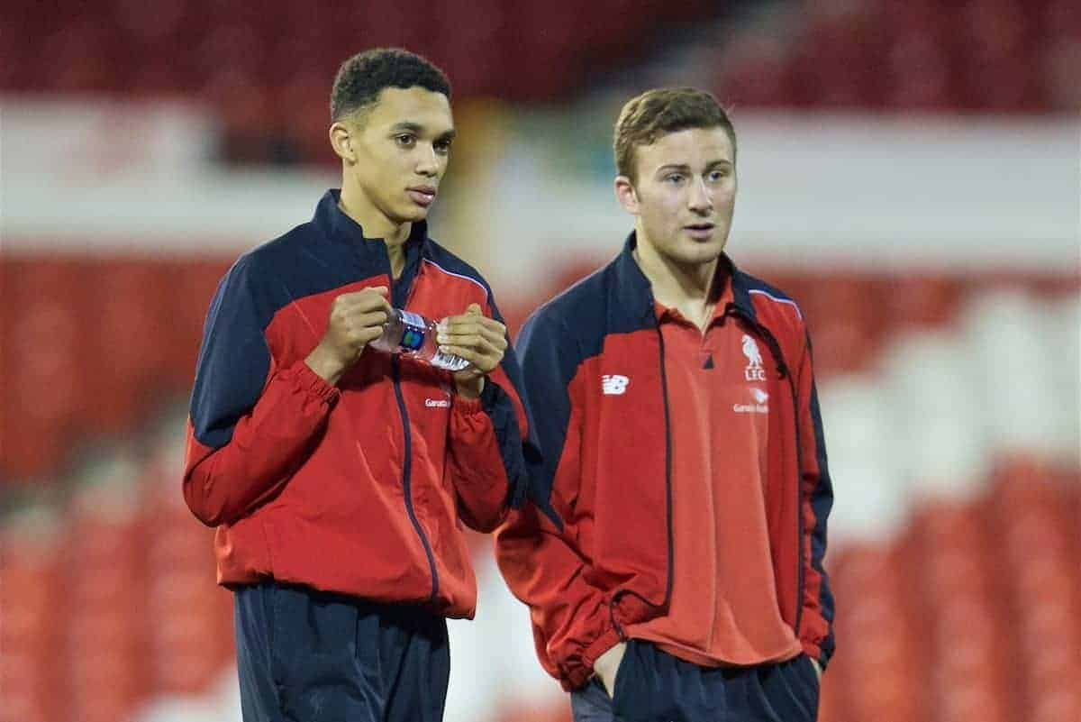 NOTTINGHAM, ENGLAND - Thursday, February 4, 2016: Liverpool's Trent Alexander-Arnold and Herbie Kane on the pitch ahead of the FA Youth Cup 5th Round match against Nottingham Forest at the City Ground. (Pic by David Rawcliffe/Propaganda)