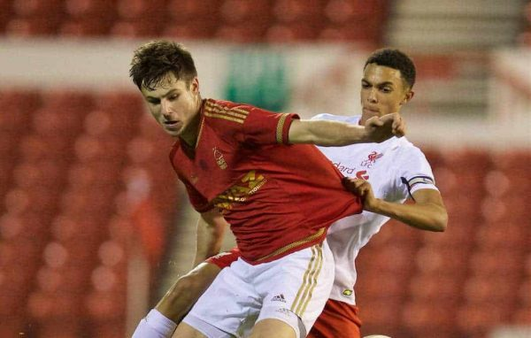 NOTTINGHAM, ENGLAND - Thursday, February 4, 2016: Liverpool's Trent Alexander-Arnold in action against Nottingham Forest's Ben Brereton during the FA Youth Cup 5th Round match at the City Ground. (Pic by David Rawcliffe/Propaganda)