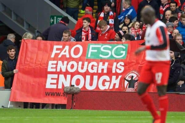 "LIVERPOOL, ENGLAND - Saturday, February 6, 2016: Liverpool supporters protest with a banner ""FAO FSG Enough is Enough"" from the SOS group before the Premier League match against Sunderland at Anfield. (Pic by David Rawcliffe/Propaganda)"
