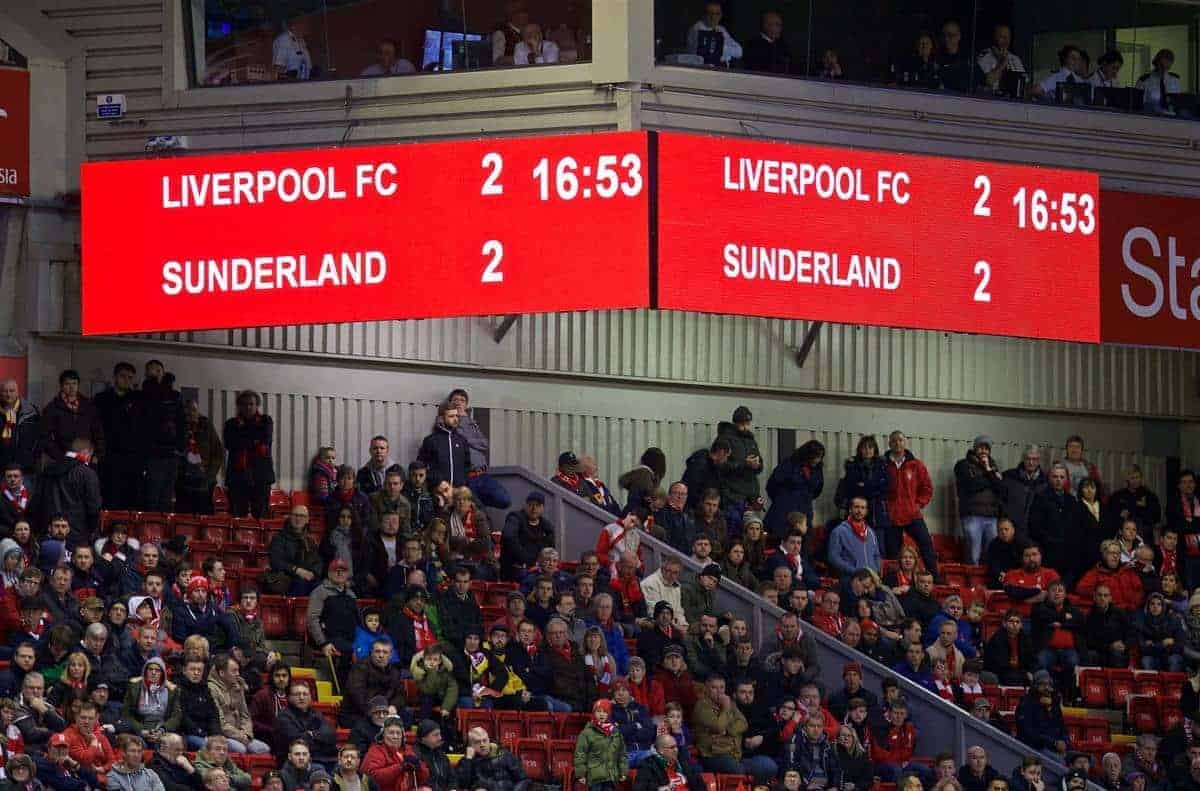 LIVERPOOL, ENGLAND - Saturday, February 6, 2016: Liverpool's scoreboard records the 2-2 draw with Sunderland during the Premier League match at Anfield. (Pic by David Rawcliffe/Propaganda)