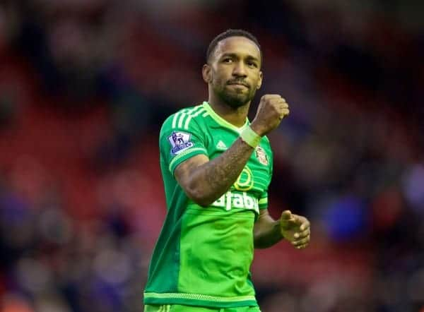 LIVERPOOL, ENGLAND - Saturday, February 6, 2016: Sunderland's goal-scorer Jermain Defoe celebrates the 2-2 draw against Liverpool during the Premier League match at Anfield. (Pic by David Rawcliffe/Propaganda)
