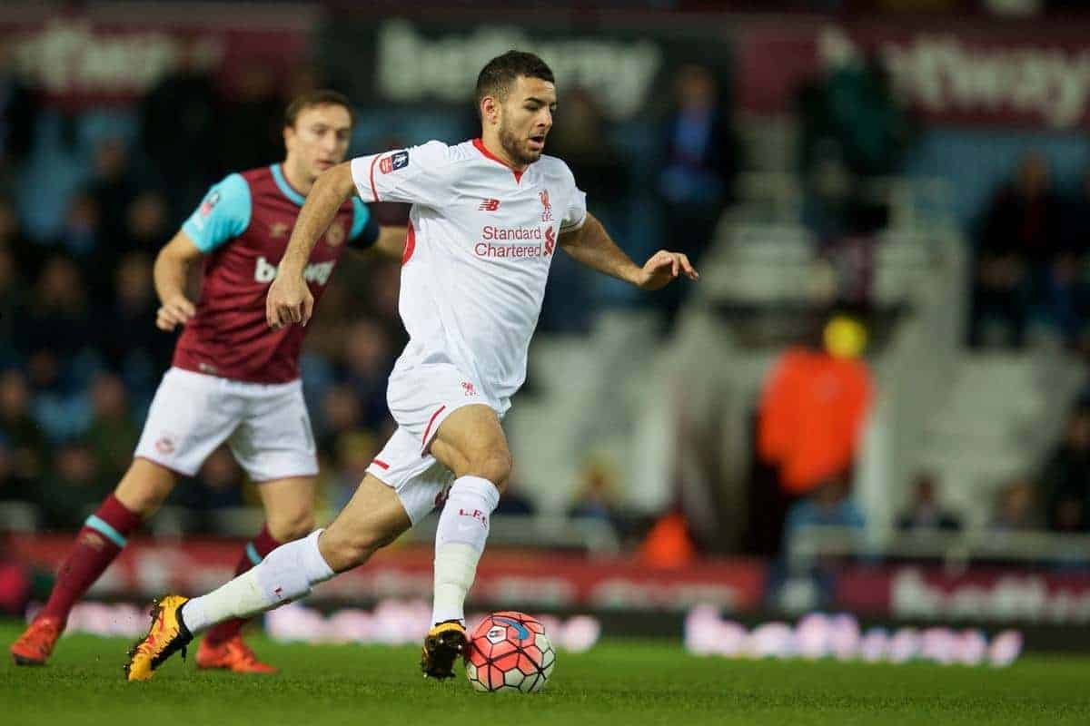 LONDON, ENGLAND - Tuesday, February 9, 2016: Liverpool's Kevin Stewart in action against West Ham United during the FA Cup 4th Round Replay match at Upton Park. (Pic by David Rawcliffe/Propaganda)