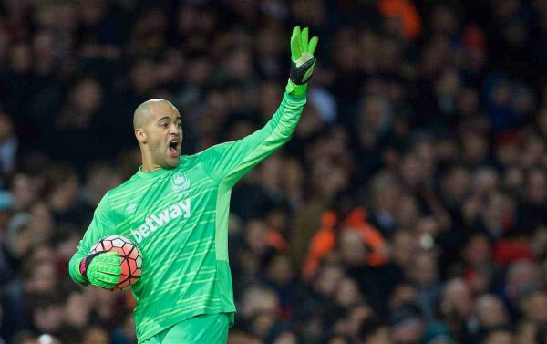 LONDON, ENGLAND - Tuesday, February 9, 2016: West Ham United's goalkeeper Darren Randolph in action against Liverpool during the FA Cup 4th Round Replay match at Upton Park. (Pic by David Rawcliffe/Propaganda)