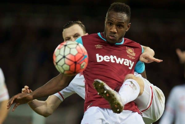 LONDON, ENGLAND - Tuesday, February 9, 2016: Liverpool's Brad Smith in action against West Ham United's Michail Antonio during the FA Cup 4th Round Replay match at Upton Park. (Pic by David Rawcliffe/Propaganda)