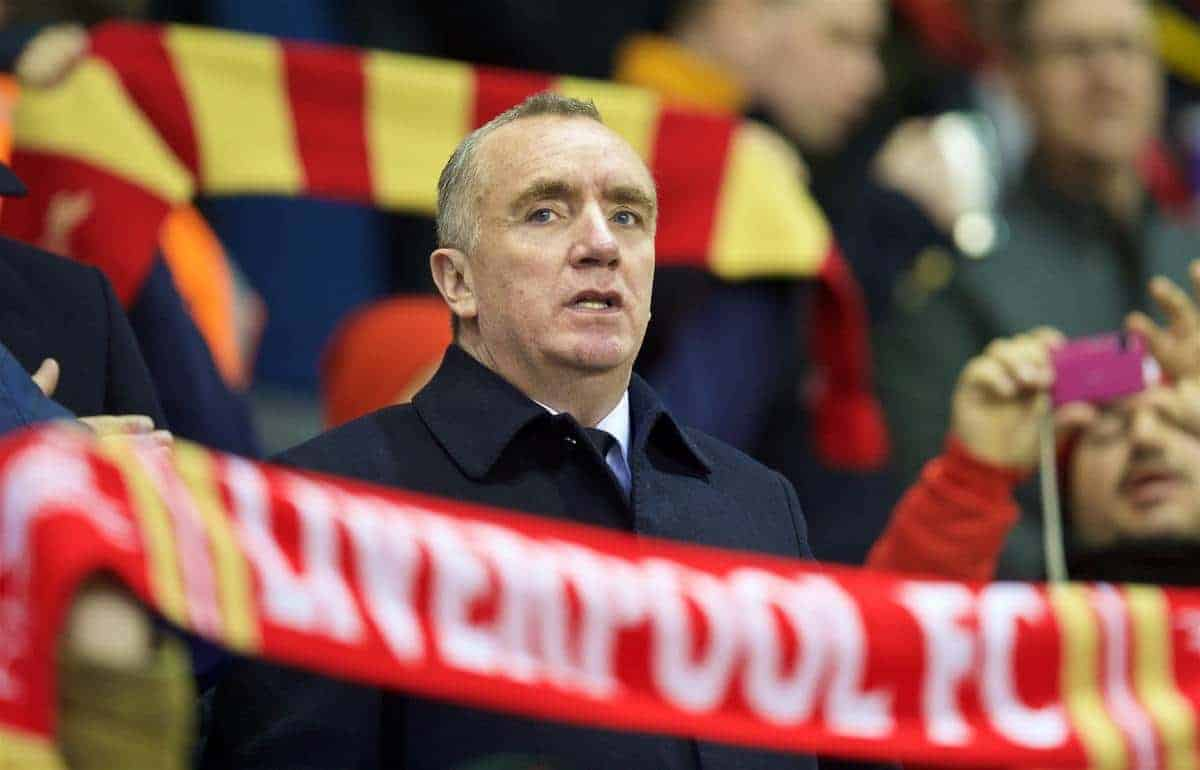 LIVERPOOL, ENGLAND - Thursday, February 25, 2016: Liverpool's chief executive Ian Ayre before the UEFA Europa League Round of 32 1st Leg match against FC Augsburg at Anfield. (Pic by David Rawcliffe/Propaganda)