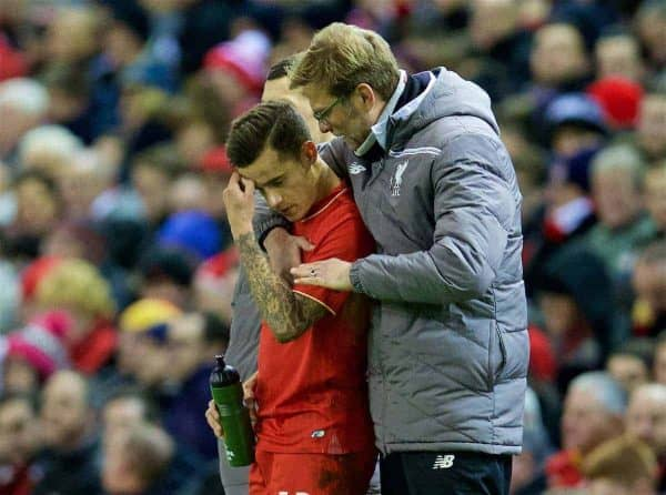 LIVERPOOL, ENGLAND - Thursday, February 25, 2016: Liverpool's manager Jürgen Klopp and Philippe Coutinho Correia during the UEFA Europa League Round of 32 1st Leg match against FC Augsburg at Anfield. (Pic by David Rawcliffe/Propaganda)