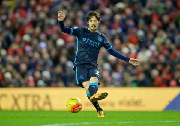 LIVERPOOL, ENGLAND - Wednesday, March 2, 2016: Manchester City's David Silva in action against Liverpool during the Premier League match at Anfield. (Pic by David Rawcliffe/Propaganda)