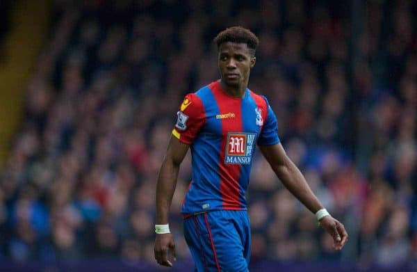 LONDON, ENGLAND - Sunday, March 6, 2016: Crystal Palace's Wilfried Zaha in action against Liverpool during the Premier League match at Selhurst Park. (Pic by David Rawcliffe/Propaganda)
