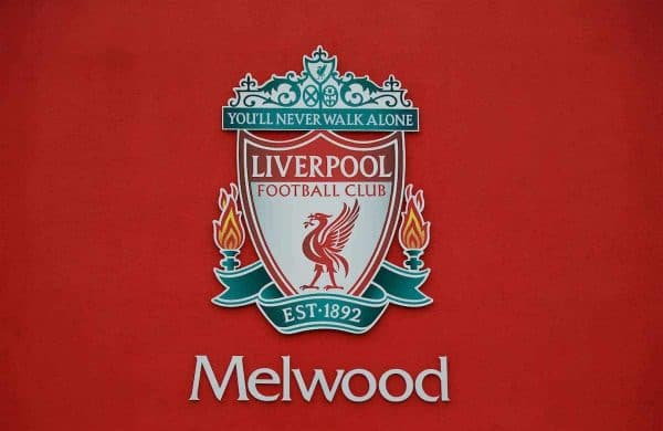 LIVERPOOL, ENGLAND - Wednesday, March 9, 2016: The Liverpool badge outside Melwood Training Ground ahead of the UEFA Europa League Round of 16 1st Leg match against Manchester United FC. (Pic by David Rawcliffe/Propaganda)