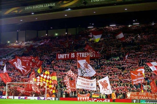 "LIVERPOOL, ENGLAND - Thursday, March 10, 2016: Liverpool supporters on the Spion Kop with banners ""Unity is Strength"" and ""We Told You They Lied, Justice for the 96"" before the UEFA Europa League Round of 16 1st Leg match against Manchester United at Anfield. (Pic by David Rawcliffe/Propaganda)"