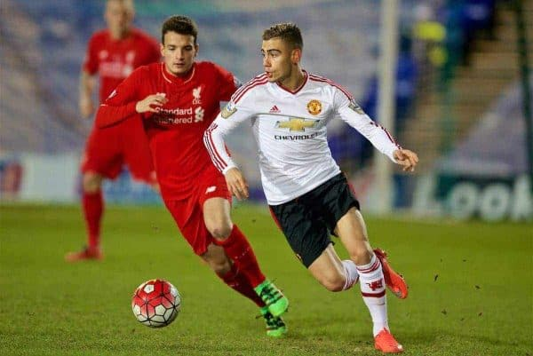 BIRKENHEAD, ENGLAND - Friday, March 11, 2016: Manchester United's Andreas Pereira in action against Liverpool's Pedro Chirivella during the Under-21 FA Premier League match at Prenton Park. (Pic by David Rawcliffe/Propaganda)
